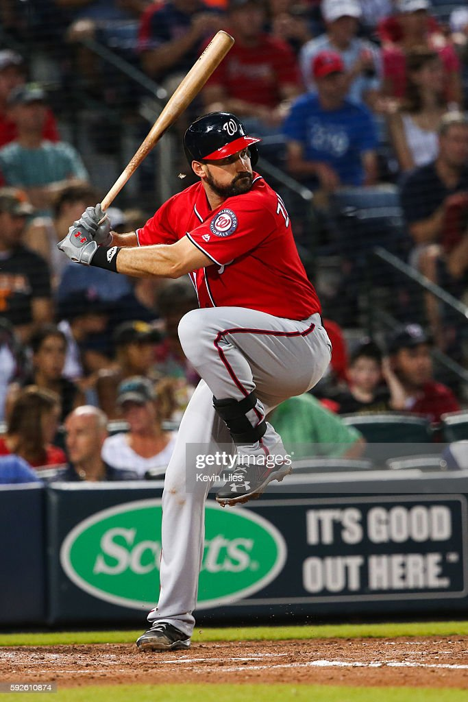 Ryan Zimmerman #11 of the Washington Nationals at bat against the Atlanta Braves during the fourth inning at Turner Field on August 20, 2016 in Atlanta, Georgia.