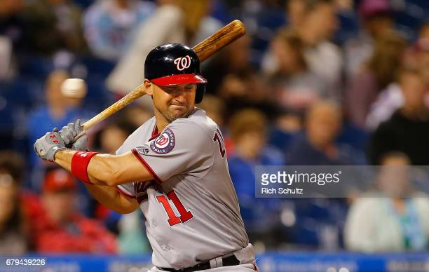 Ryan Zimmerman of the Washington Nationals backs off an inside pitch from Nick Pivetta of the Philadelphia Phillies during the fifth inning of a game...