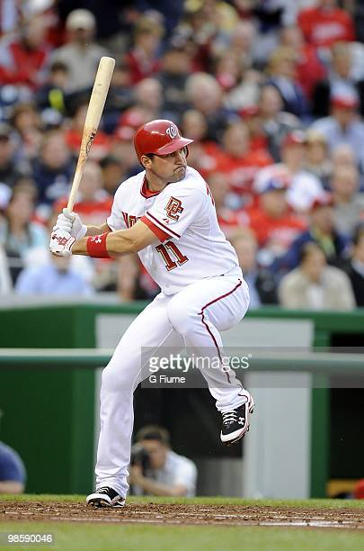 Ryan Zimmerman of the Washington Nationals bats against the Colorado Rockies April 20 2010 at Nationals Park in Washington DC