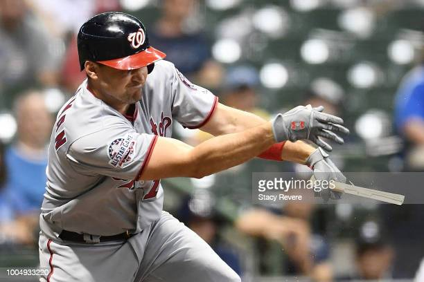 Ryan Zimmerman of the Washington Nationals breaks his bat in the 10th inning of a game against the Milwaukee Brewers at Miller Park on July 24 2018...