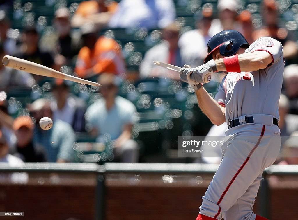 Ryan Zimmerman #11 of the Washington Nationals breaks his bat in the first inning of their game against the San Francisco Giants at AT&T Park on May 22, 2013 in San Francisco, California.