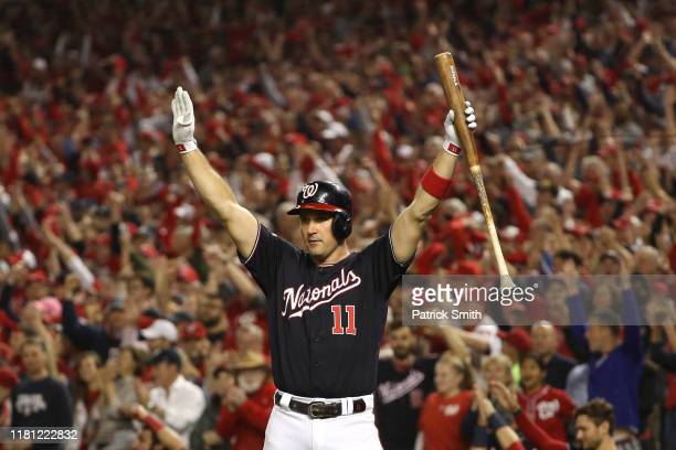 Ryan Zimmerman of the Washington Nationals celebrates a run against the St Louis Cardinals in game three of the National League Championship Series...