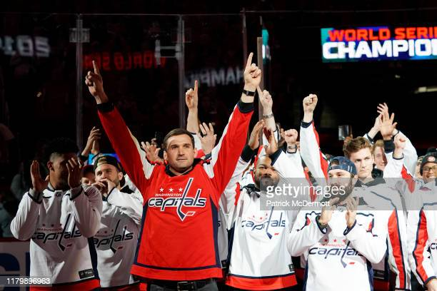 Ryan Zimmerman of the Washington Nationals celebrates as the Nationals are honored during a pregame ceremony to celebrate the Washington Nationals...