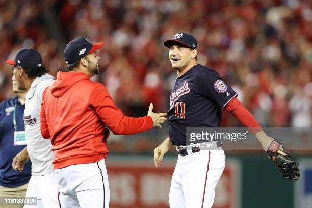 Ryan Zimmerman of the Washington Nationals celebrates winning game four and the National League Championship Series against the St Louis Cardinals at...