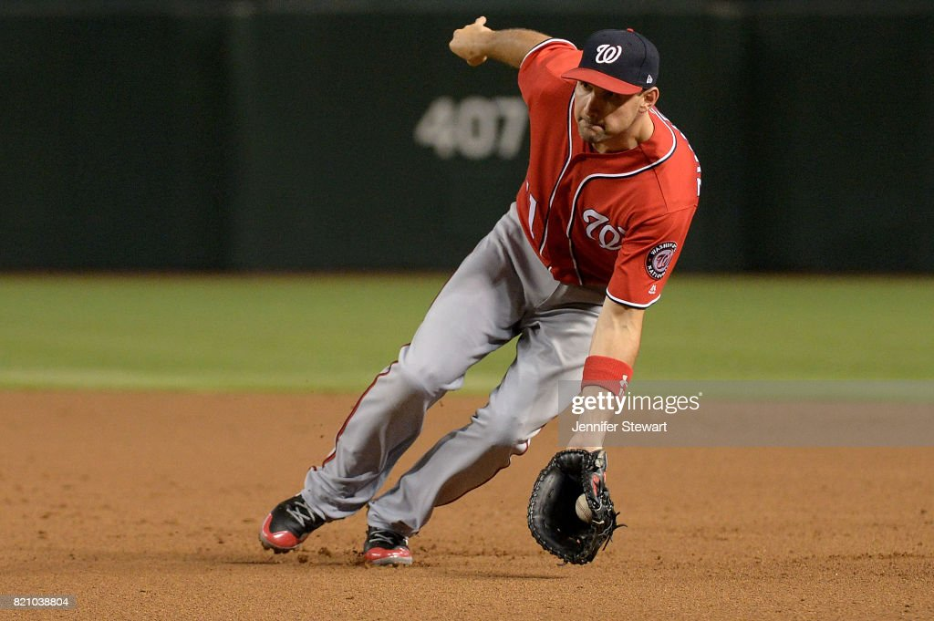 Ryan Zimmerman #11 of the Washington Nationals fields a ground ball in the second inning of the MLB game against the Arizona Diamondbacks at Chase Field on July 22, 2017 in Phoenix, Arizona.