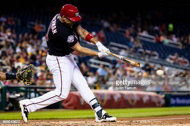 Ryan Zimmerman of the Washington Nationals grounds out during the fourth inning against the Pittsburgh Pirates at Nationals Park on May 1 2018 in...