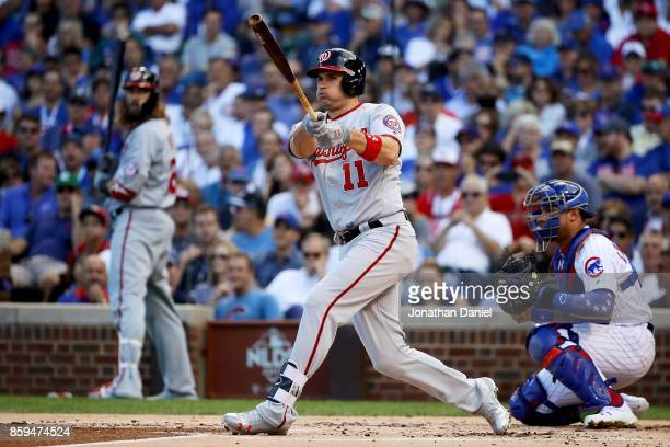 Ryan Zimmerman of the Washington Nationals grounds out in the second inning against the Chicago Cubs during game three of the National League...
