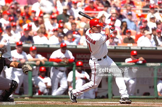 Ryan Zimmerman of the Washington Nationals hits against the Florida Marlins during the Opening Day game on April 2 2007 at RFK Stadium in Washington...