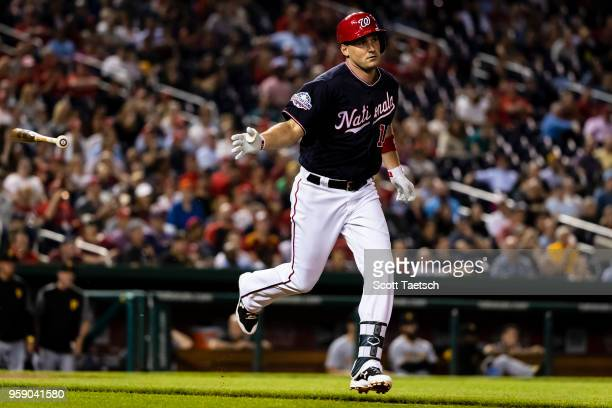 Ryan Zimmerman of the Washington Nationals hits an RBI single against the Pittsburgh Pirates during the sixth inning at Nationals Park on May 1 2018...