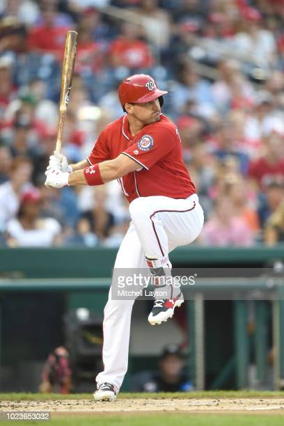 Ryan Zimmerman of the Washington Nationals prepares for a pitch during a baseball game against the Miami Marlins at Nationals Park on August 18 2018...