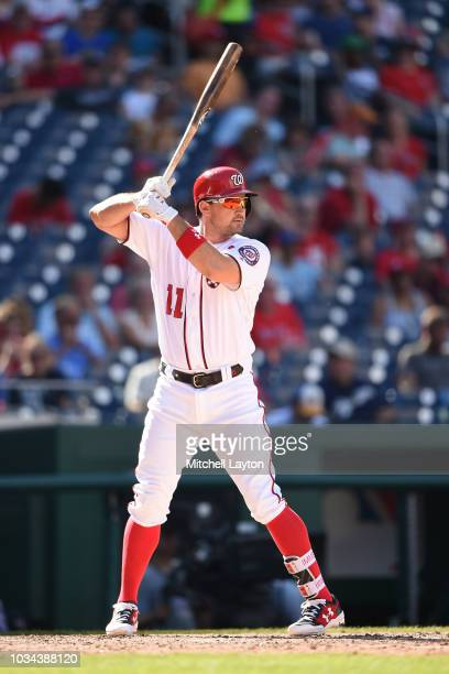 Ryan Zimmerman of the Washington Nationals prepares for a pitch during a baseball game against the Milwaukee Brewers at Nationals Park on September 2...