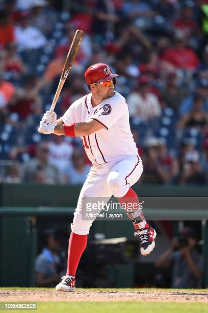 Ryan Zimmerman of the Washington Nationals prepares for a pitch during a baseball game against the St Louis Cardinals at Nationals Park on September...