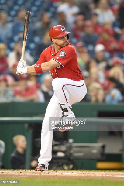 Ryan Zimmerman of the Washington Nationals prepares for a pitch during a baseball game against the Philadelphia Phillies at Nationals Park on...