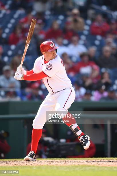 Ryan Zimmerman of the Washington Nationals prepares for a pitch during a baseball game against the Atlanta Braves at Nationals Park on April 11 2018...