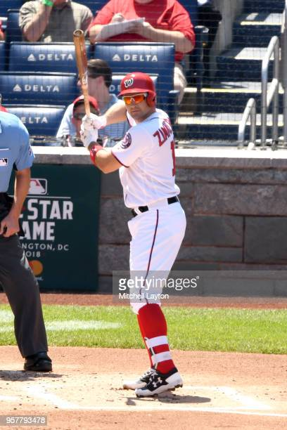 Ryan Zimmerman of the Washington Nationals prepares for a pitch during a baseball game against the Pittsburgh Pirates at Nationals Park on May 3 2018...