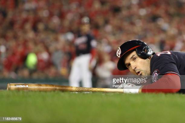 Ryan Zimmerman of the Washington Nationals reacts after nearly being hit by the pitch against the Houston Astros during the fifth inning in Game...