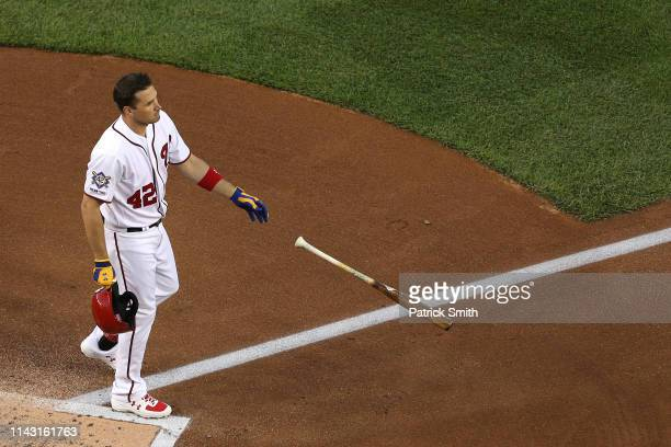 Ryan Zimmerman of the Washington Nationals reacts after striking out against the San Francisco Giants during the first inning at Nationals Park on...