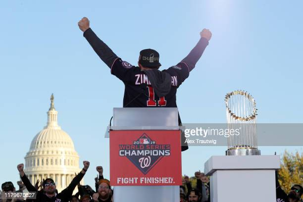 Ryan Zimmerman of the Washington Nationals reacts on stage during the 2019 World Series victory parade on Saturday November 2 2019 in Washington DC