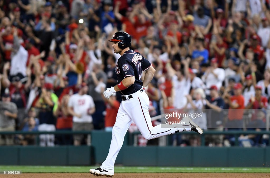 Ryan Zimmerman #11 of the Washington Nationals rounds the bases after hitting a three-run home run in the sixth inning against the Los Angeles Dodgers at Nationals Park on September 17, 2017 in Washington, DC.