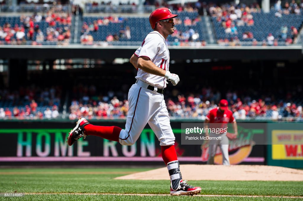 Ryan Zimmerman #11 of the Washington Nationals runs the bases after hitting a two-run home in the first inning during a game against the Los Angeles Angels of Anaheim at Nationals Park on August 16, 2017 in Washington, DC.
