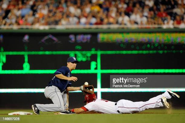 Ryan Zimmerman of the Washington Nationals steals second base against Ben Zobrist of the Tampa Bay Rays during the seventh inning at Nationals Park...