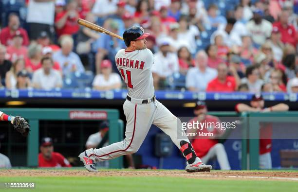 Ryan Zimmerman of the Washington Nationals swings at a pitch in the fifth inning during a game against the Philadelphia Phillies at Citizens Bank...
