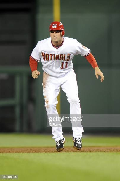 Ryan Zimmerman of the Washington Nationals takes a lead from first base during the game against the Florida Marlins on April 17 2009 at Nationals...