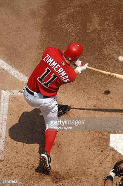Ryan Zimmerman of the Washington Nationals takes a swing during a baseball game against the New York Yankees on June 17 2006 at RFK Stadium in...