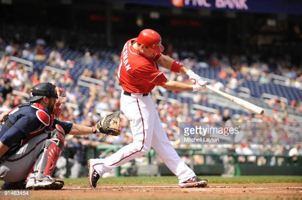 Ryan Zimmerman of the Washington Nationals takes a swing during a baseball game against the Atlanta Braves on September 27 2009 at Nationals Park in...