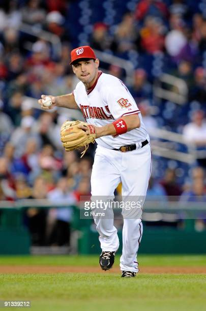Ryan Zimmerman of the Washington Nationals throws the ball to first base against the New York Mets at Nationals Park on September 30 2009 in...