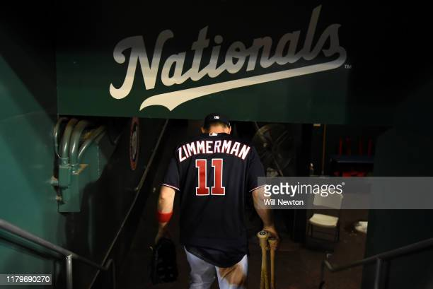Ryan Zimmerman of the Washington Nationals walks off after game four of the National League Division Series against the Los Angeles Dodgers at...