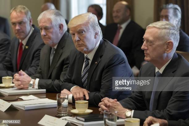 Ryan Zinke US secretary of interior from left Rex Tillerson US secretary of State US President Donald Trump and James Mattis US secretary of defense...