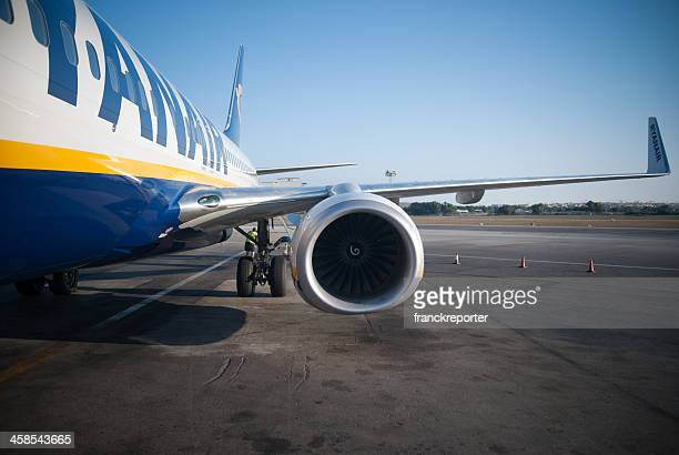 Ryanair Airplane before take-off in airport track