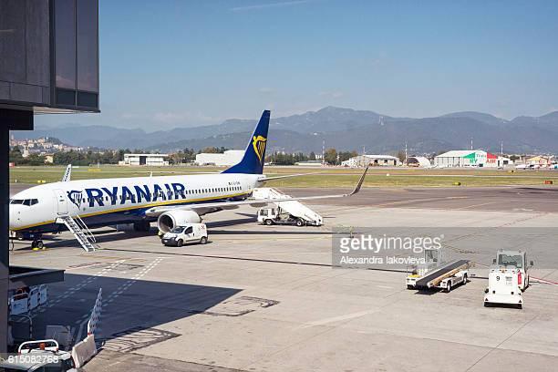 Ryanair airplane in Il Caravaggio International Airport, Bergamo, Italy