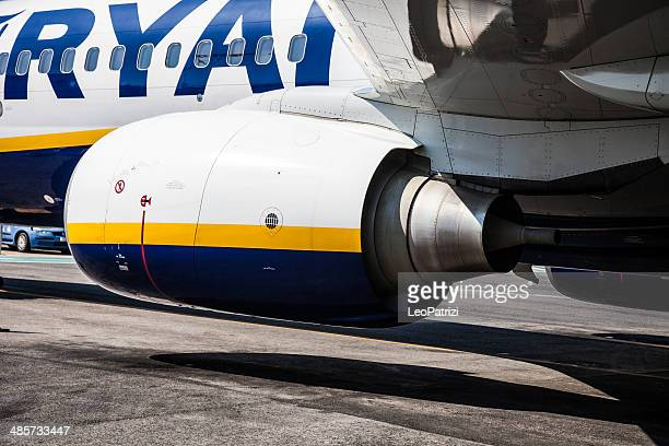 ryanair airplane ready for departure - ciampino airport stock photos and pictures
