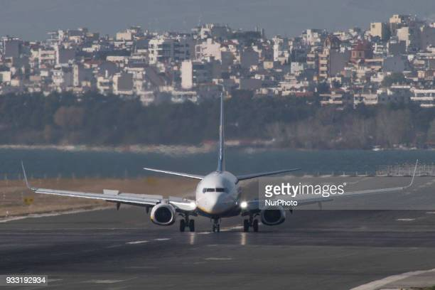 Ryanair airplanes as seen in Thessaloniki International Airport 'Makedonia' on March 17 2018 Ryanair operates a fleet of 420 Boeing 419 Boeing 737800...