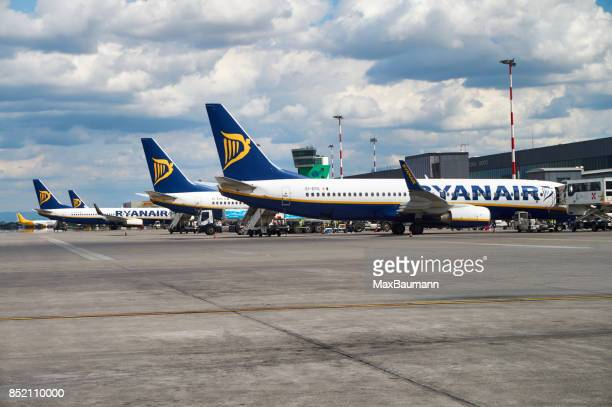 Ryanair airplanes at Bergamo airport