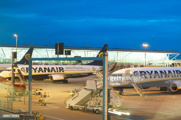 Ryanair airplanes at Stansted airport