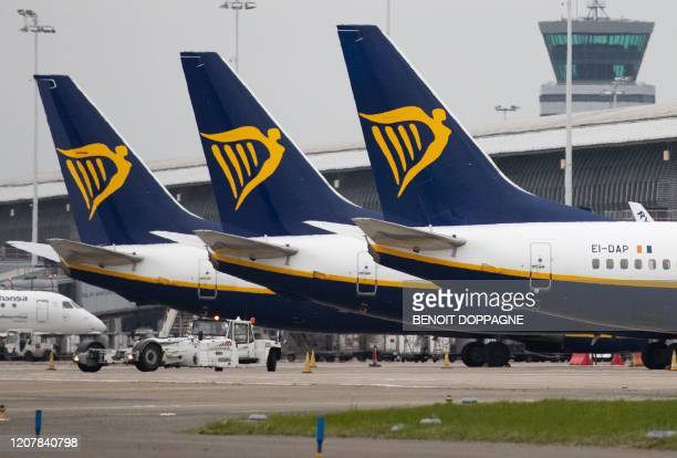 Ryanair airplanes on ground at Brussels Airport after the suspension of more than 2/3 of the flights of Brussels Airlines in Zaventem on March 20...