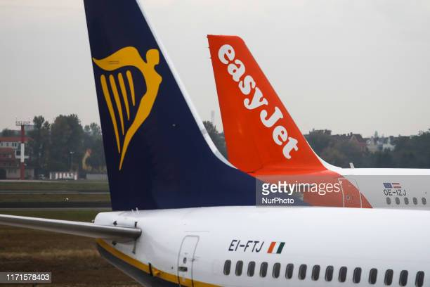 Ryanair and Easy Jet planes are seen at Tegel Airport in Berlin Germany on 25 September 2019