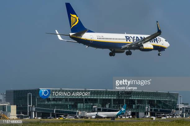 Ryanair Boeing 737-800 aircraft approches Turin Airport . On 24 July 2019 Italian trade unions call a strike action that affects public transport...
