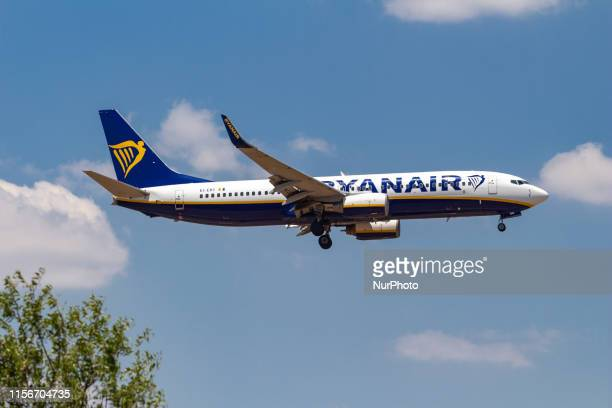 Ryanair Boeing 737800 aircraft landing at Athens International Airport AIA Eleftherios Venizelos ATH LGAV during a summer blue sky day The airplane...