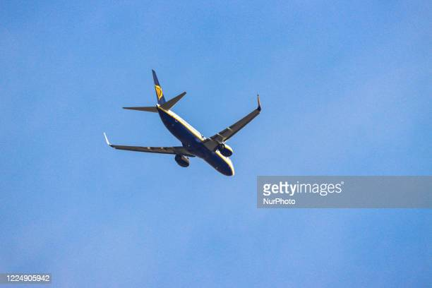 A Ryanair Boeing 737800 airplane as seen landing at Thessaloniki Makedonia SKG LGTS International Airport as Greece is lifting the travel ban measure...