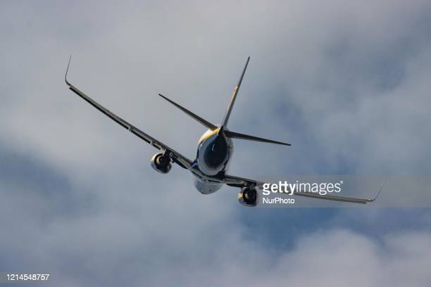 Ryanair Boeing 737-800 commercial aircraft as seen during takeoff rotating and flying off the runway at Eindhoven EIN EHEH airport in the...