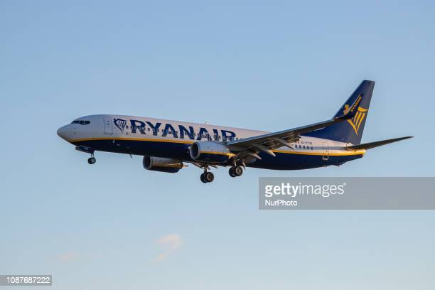 Ryanair Boeing 737800 with registration EIFTR landing at Eindhoven EIN / EHEH international airport in the Netherlands Ryanair FR is a budget or...
