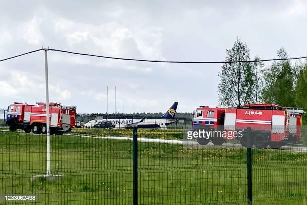 Ryanair Boeing 737-8AS is parked on Minsk International Airport's apron in Minsk, on May 23, 2021. - Belarusian opposition Telegram channel Nexta...