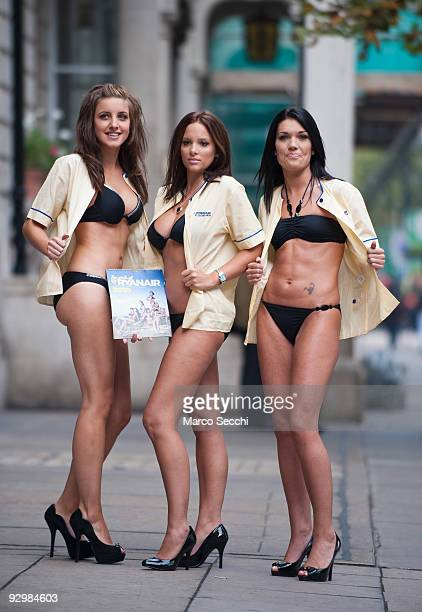 Ryanair cabin crew strip off at the launch of the 2010 Ryanair Cabin Crew Charity Calendar on November 11 2009 in London England The airline hopes...