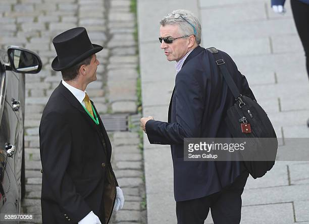 Ryanair CEO Michael O'Leary arrives at the Hotel Taschenbergpalais Kempinski Dresden for the 2016 Bilderberg Group conference on June 9, 2016 in...