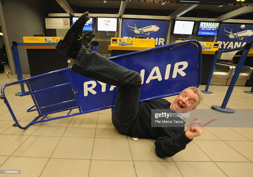 Ryanair CEO Michael O'Leary poses after the press conference at Orio Al Serio Airport on January 22, 2013 in Bergamo, Italy. Ryanair is introducing 4 new flights that will be operational from April. The new routes will be Catania (Italy), Kalamata (Greece), Knock (Ireland) and Malta.