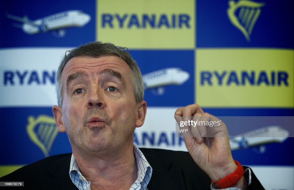 Ryanair CEO Michael O'Leary speaks during a press conference at Maastricht-Aachen Airport on January 16, 2013. Dutch television station KRO, in their program Reporter, said Ryanair aircrafts do not refuel enough gasoline. Ryanair will thereby bring the flight crew and passengers in great danger, as a consequence. According to O'Leary, this is a lie and he will take legal action against the KRO. ANP JERRY LAMPEN netherlands out - belgium out